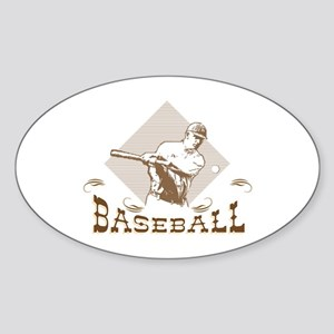 Old-Fashioned Baseball Design Oval Sticker