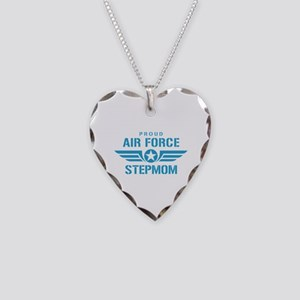 Proud Air Force Stepmom W Necklace Heart Charm