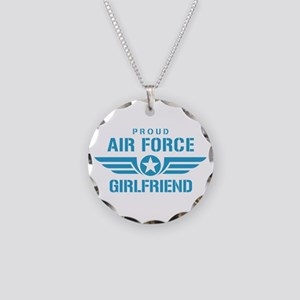 Proud Air Force Girlfriend W Necklace Circle Charm