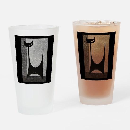 Retro Mid Century Jazz Cat Highball Drinking Glass