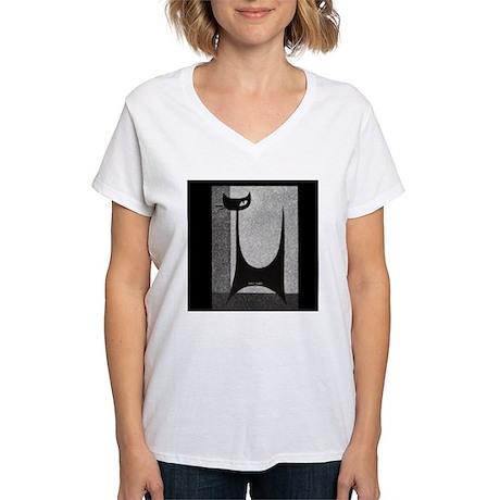 Retro Mid Century Jazz Cat Women's V-Neck T-Shirt