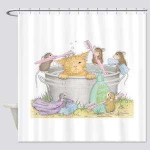 Mice Co Cat Wash Shower Curtain