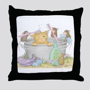 Mice Co Cat Wash Throw Pillow