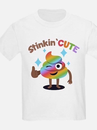 Emoji Rainbow Poop Stinkin' Cut T-Shirt