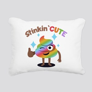 Emoji Rainbow Poop Stink Rectangular Canvas Pillow