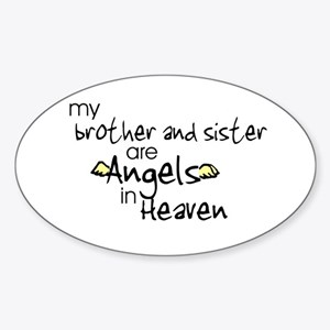 Brother/Sister Angels Oval Sticker