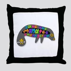 save the manatee Throw Pillow