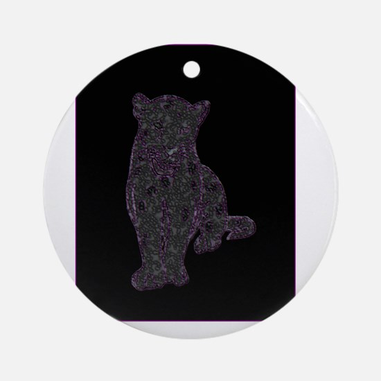 Purple Spots on Black Panther Ornament (Round)