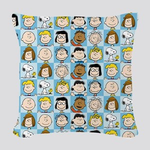 Peanuts Back to School Pattern Woven Throw Pillow