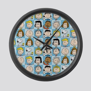 Peanuts Back to School Pattern Large Wall Clock