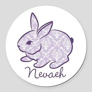 Purple chic bunny Round Car Magnet