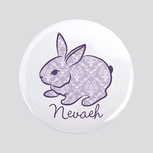 """Purple chic bunny 3.5"""" Button"""