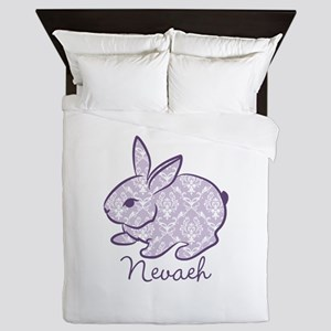 Purple chic bunny Queen Duvet