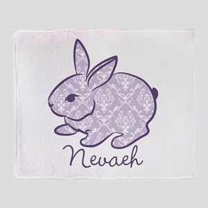 Purple chic bunny Throw Blanket