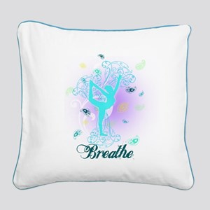 Breathe Yoga Pose Square Canvas Pillow