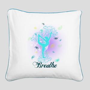 Breathe Yoga Pose Square Canvas Pillow