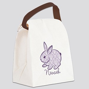 Purple chic bunny Canvas Lunch Bag