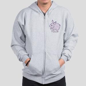 Purple chic bunny Zip Hoodie