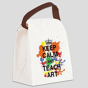 Keep Calm Teach Art Canvas Lunch Bag