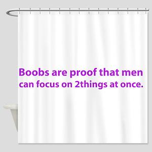 2 boobs purple Shower Curtain