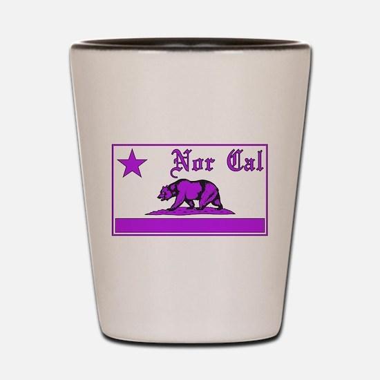 nor cal bear purple Shot Glass