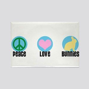 Peace Love Bunnies Rectangle Magnet