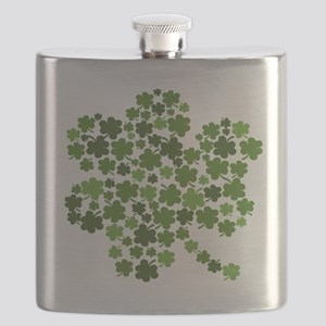Shamrocks in a Shamrock Flask