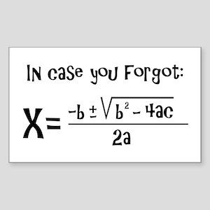 Quadratic Formula Reminder Sticker