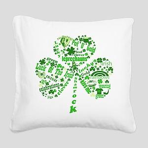 Irish Shamrock Square Canvas Pillow