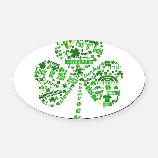 Irish Shamrock.png Oval Car Magnet
