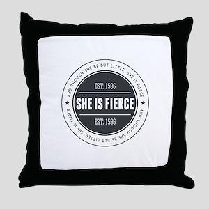 She is Fierce Badge Throw Pillow