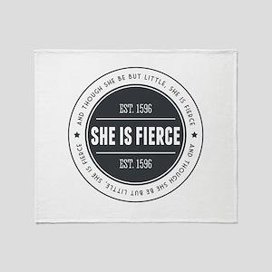 She is Fierce Badge Throw Blanket