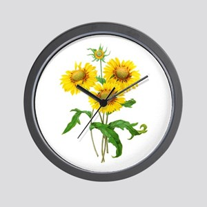 Gaillardia or Sunflowers by Redoute Wall Clock