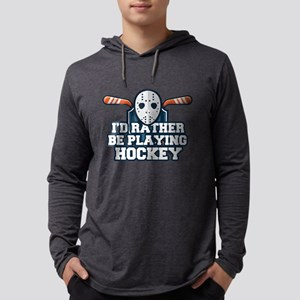 Rather Be Playing Hockey Mens Hooded Shirt