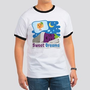 Emoji Eggplant and Peach Sweet Dreams Ringer T