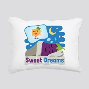 Emoji Eggplant and Peach Rectangular Canvas Pillow