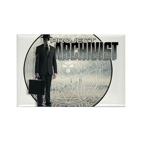 Project Archivist White T Rectangle Magnet