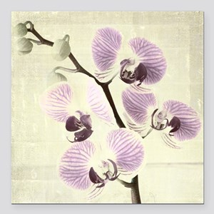 "Light Orchids Square Car Magnet 3"" x 3"""