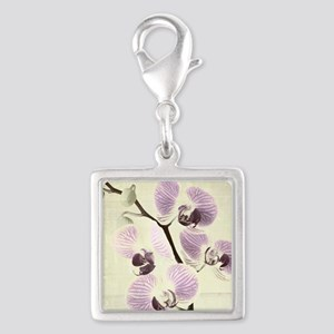 Light Orchids Silver Square Charm
