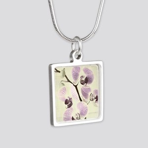 Light Orchids Silver Square Necklace
