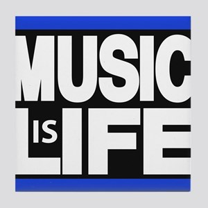 music life blue Tile Coaster