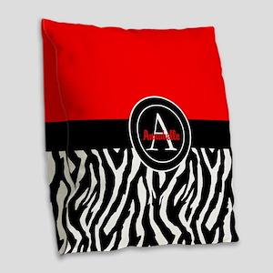 Red Zebra Burlap Throw Pillow