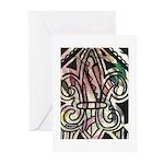Candy Striped Fleur De Lis Greeting Cards (Pk of 2