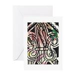 Candy Striped Fleur De Lis Greeting Card