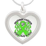 Destroy Non-Hodgkins Cancer Silver Heart Necklace