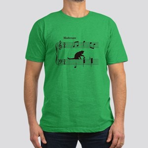 Cat Toying with Note v.2 Men's Fitted T-Shirt (dar