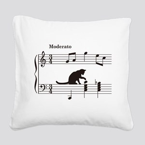 Cat Toying with Note v.2 Square Canvas Pillow