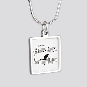 Cat Toying with Note v.2 Silver Square Necklace