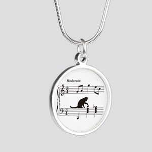 Cat Toying with Note v.2 Silver Round Necklace