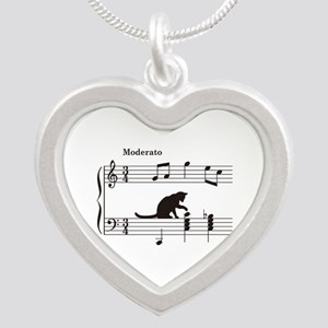Cat Toying with Note v.2 Silver Heart Necklace